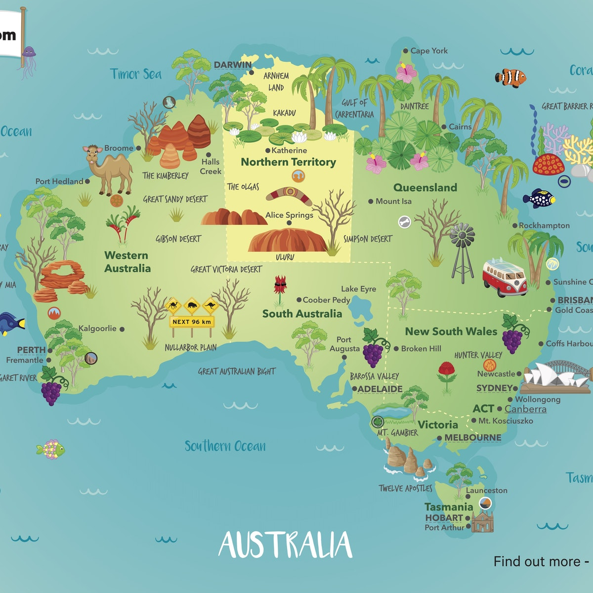 Australia On A Map.Introduction To The Map Of Australia Inquisitive Unit